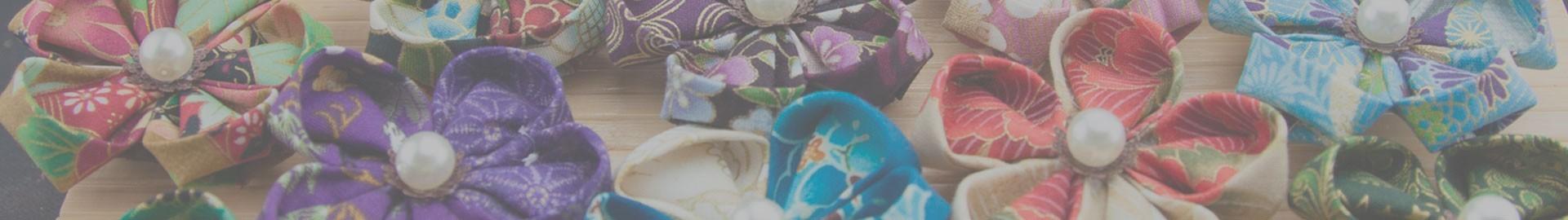 Broches de flores Kanzashi